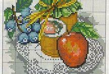 cross stitch kitchen and food