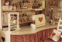 sewingroom / einrichtung, regale, sortierung, unterbringung von material, stoffen, zubehör