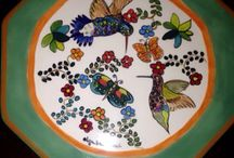 Cerámica pintada a mano Olga Bertrand  Santiago Chile / Platos ceramica pintados a mano Olga Bertrand