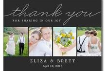 Wedding Thank You Cards / What better way to share your wedding photos than to include them in your thank you cards? Check out our favorite wedding thank you cards. Most designs are available as postcards, flat cards, photo cards, or folded cards. Custom colors available upon request. Design © berryberrysweet.com