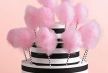 Black, White and Pink Birthday or Wedding Celebration / Black and white stripes with pink flowers, party celebration ideas for birthday or wedding