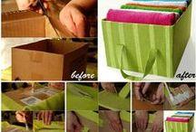 Reaproveitando Caixas de papelão / Reaproveite diversas caixas de papelão. Caixas de sapato, correios... Com forração em tecido ou papel, ficam simplesmente lindas e úteis na organização.