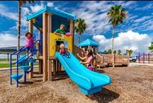 Upcycle! Recycled Playgrounds / Superior's recycled playground are made from recycled items, like plastic beverage containers and plastic bags. Did you know that every pound of recycled plastic lumber that goes into making a Superior recycled playground equates to 8 recycled milk containers?