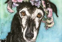 galgos en acuarela - greyhounds in watercolor