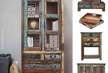 meble loftowe z drewna z recyklingu / Meble z drewna z recyklingu, kolorowy. Meble z litego drewna w stylu orientalne. Indyjskie meble kolonialne idealne do wnętrz loftowe oraz industrialne