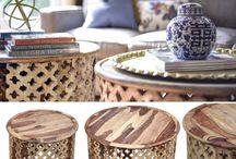 stolik kawowy ława / Unikatowy, ręcznie robiony stolik kawowy z drewna, z metalu i szkła. Malowane lub z jasnego albo ciemnego drewna palisander i mango.