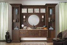Morningside Bath / Inspired by the neo-classic architecture of Manhattan's Upper West Side, the new Morningside vanity by Wood-Mode is traditional with a twist. Antique mirrors and leather inserts top off an exotic combination of materials.
