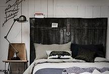 Slaapkamer ❥ Industrieel / Industrieel, zwart accent en simpel