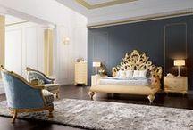 Slaapkamer ❥ Glamour / Donkere kleuren, goudtinten en kroonluchters