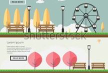 Landmark, City, Infographic, Flat design,vector. / the pictures are about Landmark or Infographic of City designed using flat design style and can be used in web, or presentation. here my link  http://shutterstock.com/g/seklihermantaputra