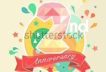 Anniversary, Card, Low Poly /  link for download  http://shutterstock.com/g/seklihermantaputra