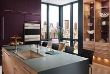 Urban Revival / Warm wood meets bold designer color in the vibrant Urban Revival kitchen by Wood-Mode, providing convenient organized storage for food, cooking equipment, dinnerware, and serving pieces.