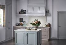 Tribeca & Soho Kitchen / Silver Mist and Agate Designer Opaque finishes on MDF are paired with a new light gray-beige cherry finish known as Shale. This soft trio of finishes gives the Soho and Tribeca door design a romantic feel that evokes a European origin.