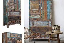 meble z recyklingu / meble z drewna z recyklingu, kolorowego i z charakterem. Wytwarzane Indiach. W stylu loftowym i industrialnym. Idealnie pasują do wnętrz vintage i nowoczesnych.