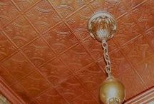 Ceiling Tiles - Metallic Painted and Fantasy Finishes / Take plain white tiles and make them pop! Gold, silver, copper, antiqued, painted, and fantasy glazed finishes from aged bronze to leather look-a-likes are featured here