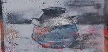 Abstract art vessels / Paintings of vessels, bowls, jars, in abstract style.