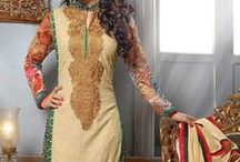 Heena Khan Designer Suit / Heena Khan Pakistani Style Designer Salwar Suit. Fabric: Soft Georgette, Chiffon Dupatta Work: Heavy Embroidery Work / by Deshi Besh
