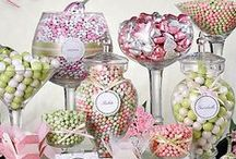 Candy Buffet / A beautiful candy buffet has height, texture & most importantly decor. Incorporate your theme into your buffet. Bear in mind that coordinated colors look more effective than a random mismatch. Put your table out in the open! If it's stuck in the back corner, guests won't be able to notice it as quickly. Order enough candy so the buffet is full & each guest gets a share. Extra candy can be taken home by the guests as a fun & memorable take-home sweet memento.