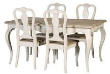 Chamonix White French Dining Furniture / Another new painted range. Chamonix is an Off White / Light Grey in colour with limed Oak washed tops. Continental influenced style with a modern light and practical finish. Reproduction brass handles and escutcheons add to the antique feel.