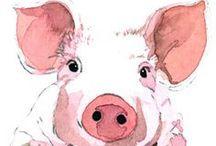 """Seres Rosas / Los pequeños o grandes seres rosas, en México llamados cerdos, son mi fascinación y contrario a la creencia, la ciencia ha demostrado que son uno de los animales más inteligentes y similares al ser humano y a su vez que la idea de que son """"sucios"""" es tan solo un mito."""