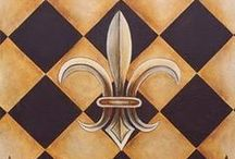 "Fleur-de-lis / <<The fleur-de-lis or fleur-de-lys is a stylized lily (in French, fleur means flower, and lis means lily) or iris that is used as a decorative design or symbol. It may be ""at one and the same time, religious, political, dynastic, artistic, emblematic, and symbolic"", especially in French heraldry. >> ***love the symbol,so i made a board about it :)***"