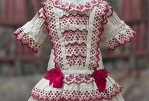 Dresses white-red, antique dolls