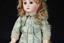 Dresses aqua-ecru, antique dolls