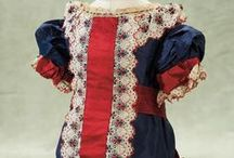 Dresses white-blue-red, antique dolls