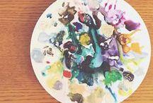 • Palette Collections • / Palettes of paint. Paint pallets. Watercolor palette. Gouache palettes. Watercolor box tin. Vintage watercolor. Acrylic palettes.
