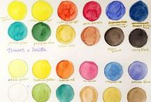 • Mix Your Colors • / Color charts for watercolors, acrylics, oils and colored powder. Mixing colors. How to make pink. Shades of blue. Paint swatches. Color charts.