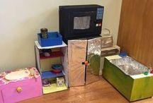 • Cardboard Creations • / Cardboard DIY toys for kids you can make. Build things in cardboard. Cardboard houses. Cardboard castles. Cardboard kitchens. Cardboard playhouse. Cardboard crafts.