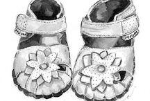 • Shoe Illustrations • / Shoe art. The art of shoes. Shoe illustrations. How to draw a shoe. How to draw shoes. Shoe posters.
