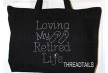 Tote bags by Threadtails on Etsy / Find rhinestone bling and custom tote bags.  Popular designs include Christian, bride, teacher's rock and more. #Totes  #ToteBags  #Gifts