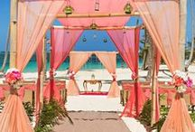 """Beach Wedding Ideas / Dreaming of overlooking the ocean on your big day, feeling the sand between your toes and the sun on your skin as you say """"I do""""? We've got all the beach wedding inspiration for you! From ocean-themed wedding cake ideas to beach ceremony decorations to beautiful wedding photo ideas in the sand."""