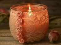 Shabby chic candles and mason jars / This board showcases my newest venture in candle making along with inspirational images of decorative mason jars. Shabby Chic lace definitely works with candles..who would have thought it?