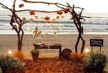 """True Love Blessed By the Sea"" / #wedding #beachwedding #decor #weddingdecor #naturedecor #sunsetwedding"