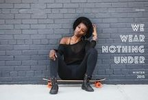 Lookbook | We Wear Nothing Under / the #nothingunder lookbook featuring Nathalie Herring @nat2legit, our brookynite skate goddess, surfing the concrete waves of NYC www.dearkates.com/pages/lookbook-we-wear-nothingunder/