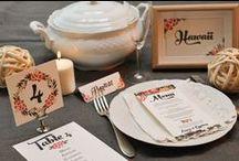 Menus de Mariage et décoration de table / Menus de mariage pour mariage champêtre, bucolique, romantique ou provençal. Marque-place, livret de cérémonie, chevalet, numéro de table, plan de table