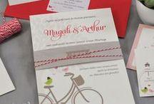 Mariage champêtre à vélo, dominante rouge / Mariage rustique, authentique et chaleureux