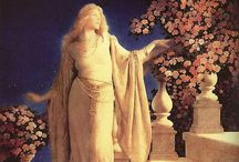 MAXFIELD PARRISH / Maxfield Parrish (1870-1966) American painter & illustrator, known for his distinctive saturated hues & idolized neo-classical imagery.
