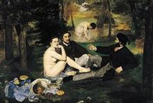 Manet / Édouard Manet (23 January 1832 – 30 April 1883) was a French painter. He was one of the first 19th-century artists to paint modern life, and a pivotal figure in the transition from Realism to Impressionism.  His early masterworks, The Luncheon on the Grass and Olympia, both 1863, caused great controversy and served as rallying points for the young painters who would create Impressionism. Today, these are considered watershed paintings that mark the genesis of modern art.  (From Wikipedia)
