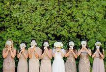 Bridal Party / Bridesmaids and groomsmen attire, gift ideas and more. Bridesmaids dresses, groomsmen suits, bridal party color coordination, bridal party gift ideas, bridesmaid gift ideas, groomsmen gift ideas.