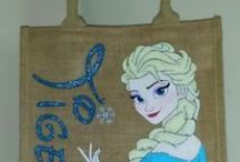 Painted disney jute/canvas bags