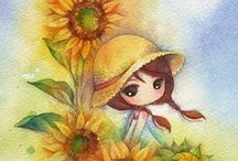 Little girls and women illustrations