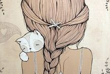 Girls and cats illustrations
