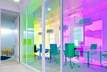 We love Office Partitions / From frosted etch to printed ultra clear vinyl. We love office spaces that have a little extra jazz.   Here are some of our favourite office partitions from Pinterest and the web!