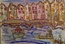 Amsterdam schilderijen / Amsterdam , grachten, panden