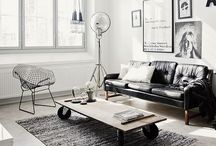 Industrial Living / Use of industrial looking materials and pieces of furniture. #living room #industrial