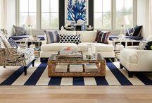 Nautical Beach Home / Nautical influences and colouring. Predominantly stripes. #beachstyle #nautical #stripe #living room