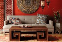 Fusion Living Rooms / An eastern influence in styles, textures and colours. #fusion #textiles #living room